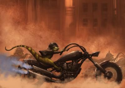 Iguana biker (Ninja Timmy) h 40 w 27.5